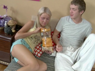 gorgeous blonde teen fingered by hot lad